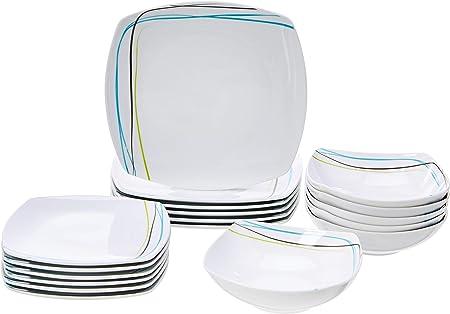 Vajilla de 18 piezas, 6 servicios, incluye 6 piezas de cada: plato llano de 26,67 cm, plato de postr