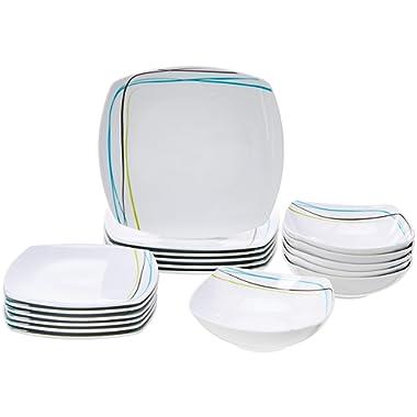 AmazonBasics 18-Piece Dinnerware Set - Soft Lines, Service for 6