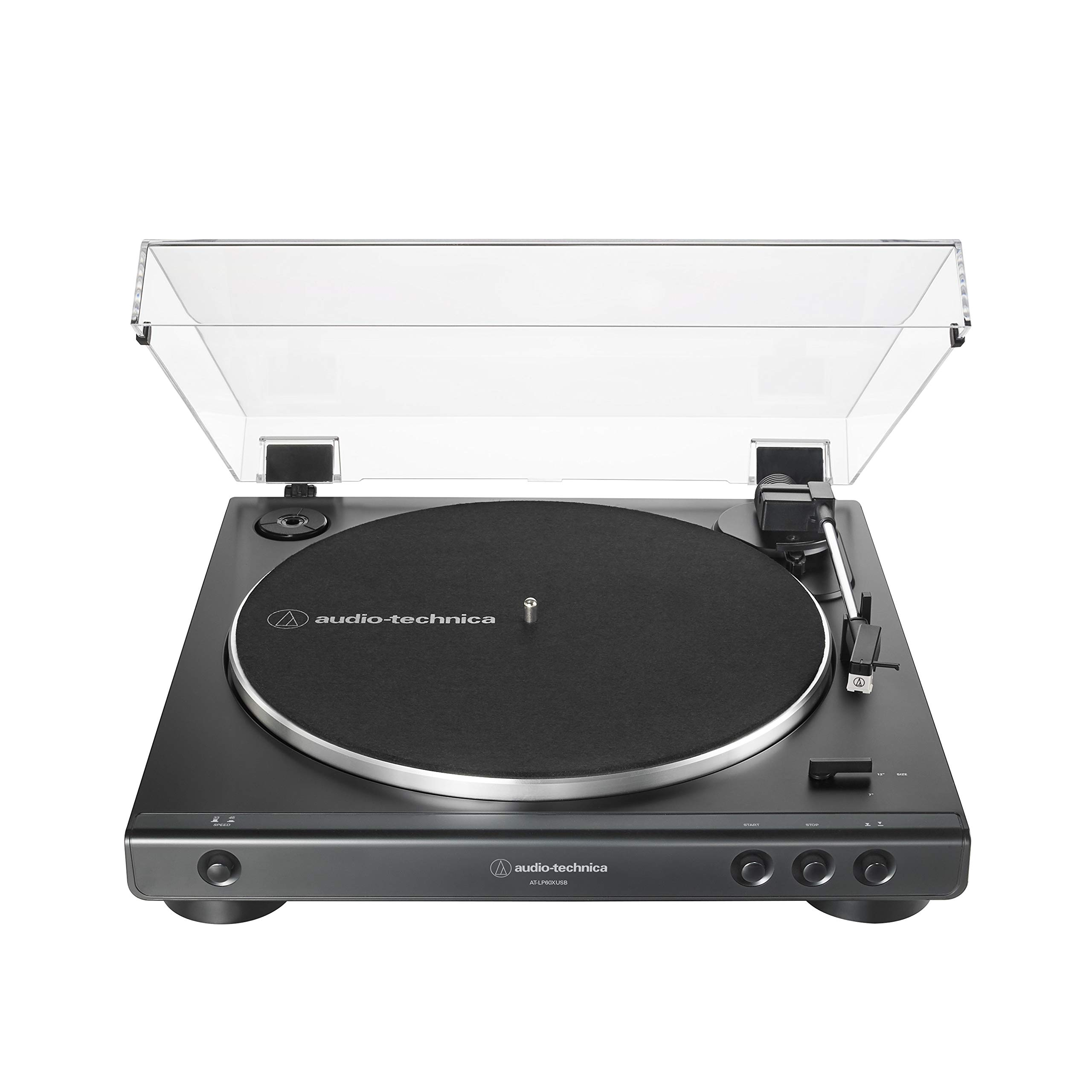 Audio-Technica AT-LP60XUSB-BK Fully Automatic Belt-Drive Stereo Turntable, Black