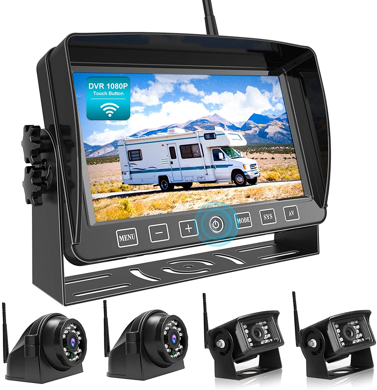 Backup Camera with 7 Touch Button Monitor Built-in Upgraded Recorder for RV Semi Box Truck Trailer 4 Quad Screen FHD Waterproof IR Rear /& Side View Backing Up Camera System for Reversing//Driving