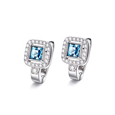 b497b59b8 Image Unavailable. Image not available for. Colour: Sterling Silver Created  Aquamarine Halo Huggie Hoop Earrings with Swarovski Crystals ...