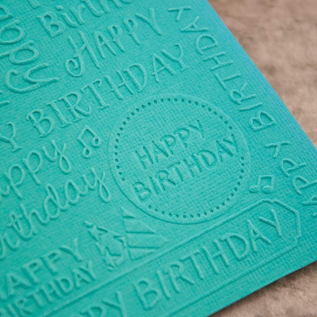 RUZYY Embossing Folder Plastic Embossing Folder Template DIY Scrapbook Photo Album Card Making Decoration Crafts Happy Birthday