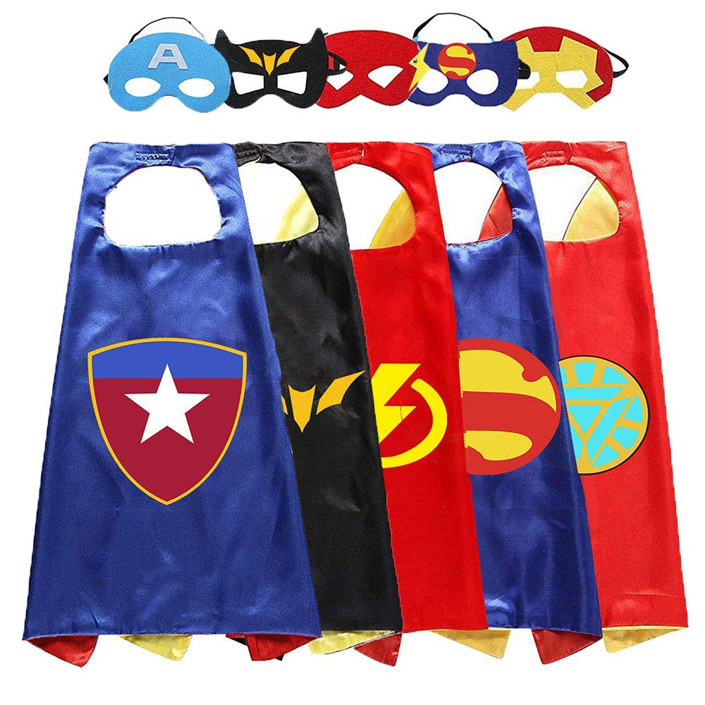 Aodai Halloween Costumes and Dress up for kids - Kids Costume Cape and Mask(5 Pcs)