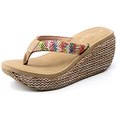 a9b94c4f591be0 Maybest Women s Bohemian Summer Platform Wedge Beach Flip Flop Toe High  Heel Thong Sandals (Beige
