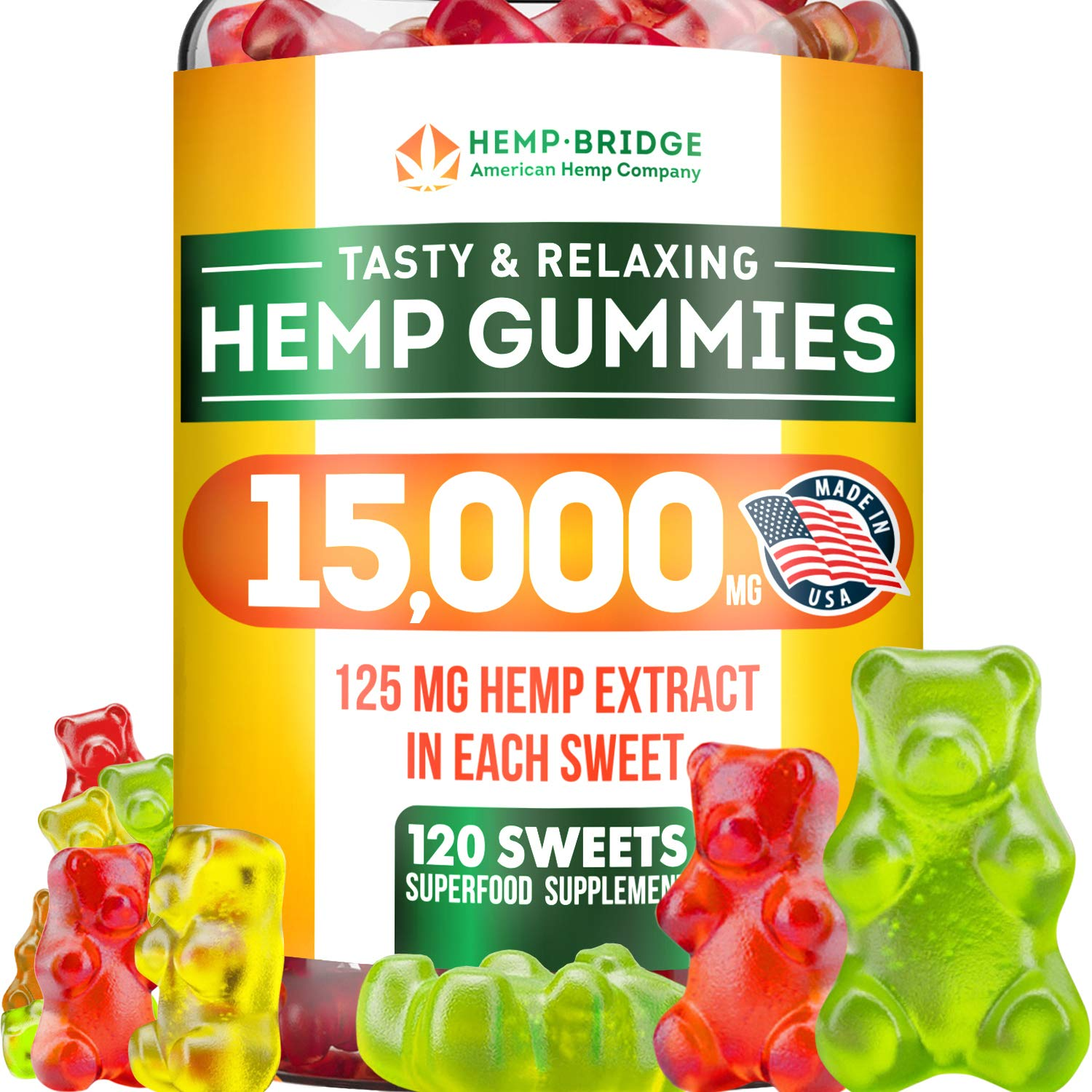 Premium Hemp Gummies – 80,000 Total – Safe and Natural – Made in USA – Relaxing, Stress & Anxiety Relief – Special Blend – Rich in Vitamins B, E,Omega 3, 6, 9 & More