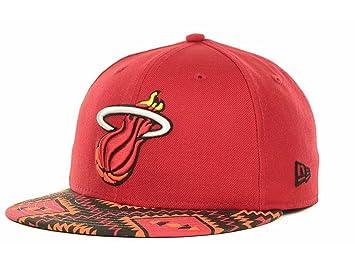 7f031b5c7f5 ... shopping miami heat nba new era 59fifty custom aztec print fitted red cap  hat 7 1