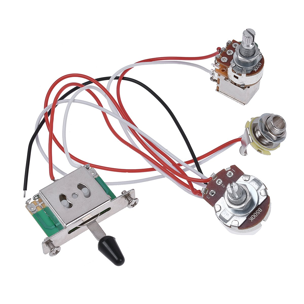 Kmise Electric Guitar Wiring Harness Prewired Kit 3 Way Toggle Switch 1 Volume Tone 500k