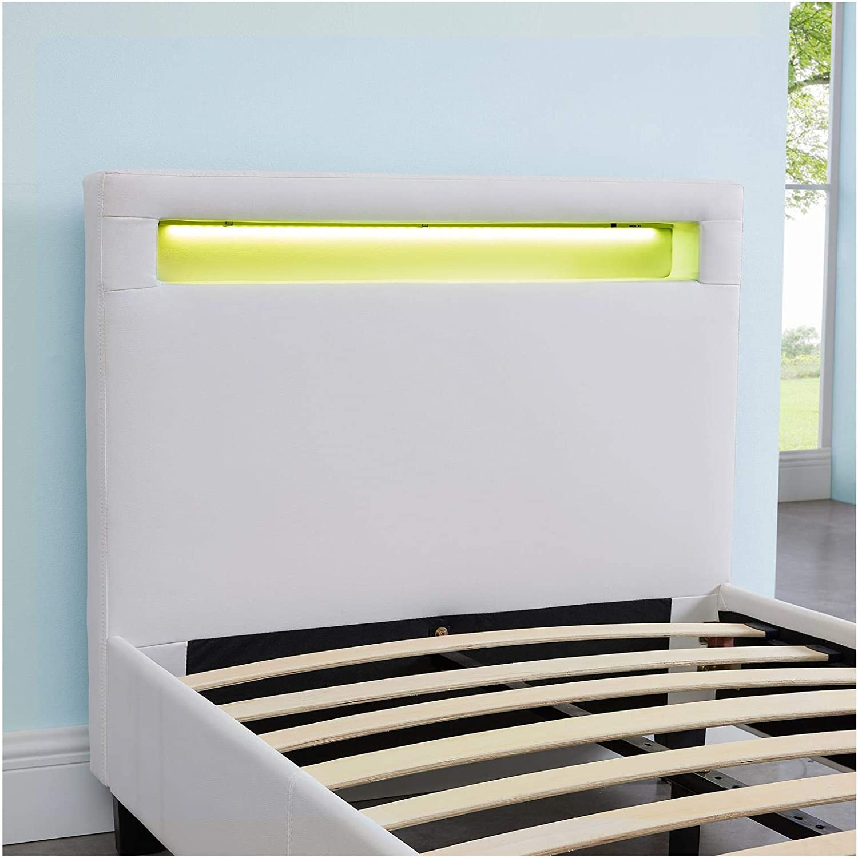 CARO-M/öbel Polsterbett Mandalay mit LED Beleuchtung Einzelbett Lederbett 90 x 200 cm mit Lattenrahmen Lederimitat in grau