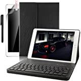 New iPad 2018 9.7 Case with Keyboard ,Boriyuan Leather Smart Case Stand Folio Cover with Detachable Wireless Bluetooth Keyboard for Apple iPad 9.7 2018 2017/ iPad 6th Generation-(Black)