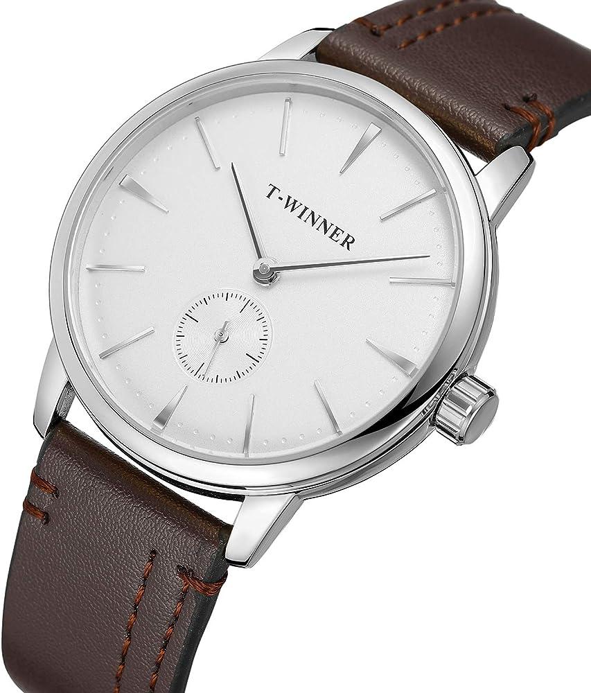 Forsining - Reloj de pulsera para hombre con correa de piel marrón y mecanismo de cuerda manual: Amazon.es: Relojes