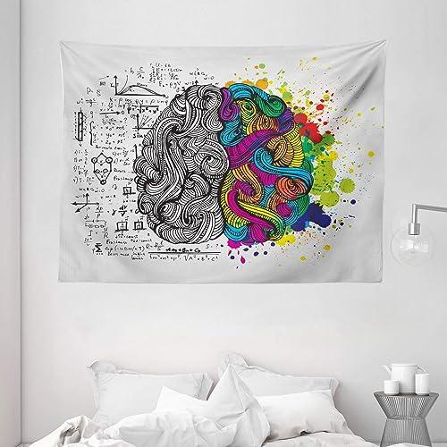 Ambesonne Watercolor Tapestry, Sketchy Modern Brainstorming with Brushstroke Color Splash Art, Wide Wall Hanging for Bedroom Living Room Dorm, 80 X 60 , Hot Pink