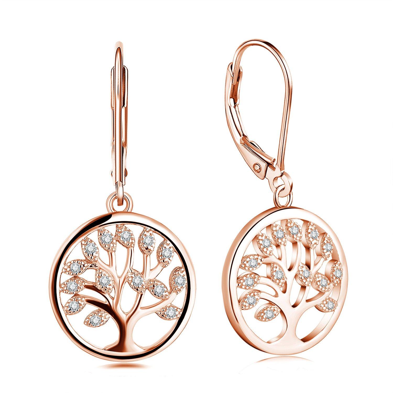 JO WISDOM 925 Sterling Silver Cubic Zirconia Family Tree of Life Drop & Dangle Leverback Earrings YH Jewelry HE011C0F