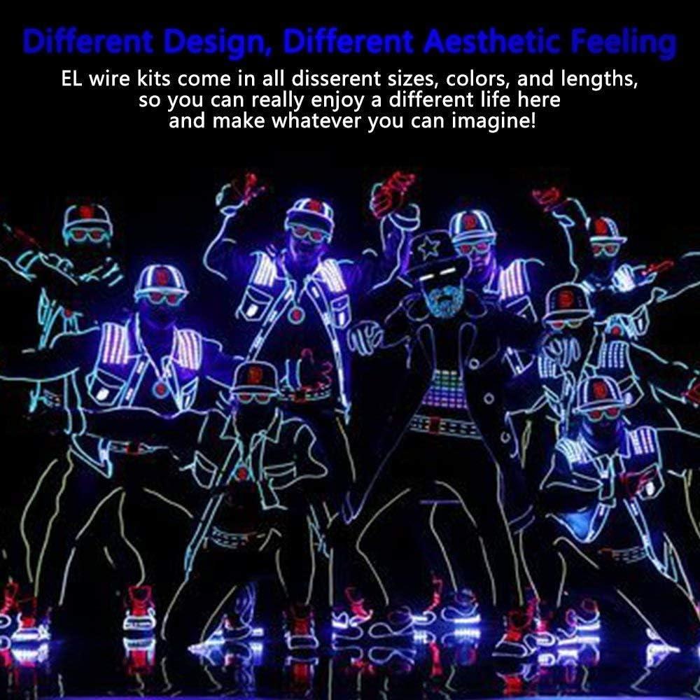 8x1Mt-Rot,Gr/ün,Blau,Wei/ß,Rosa,Gelb,Orange,Zitrone Sunboia El Wire 4 Modi Neonlicht Batteriebetriebener Elektrolumineszenzdraht Leuchtendes Stroboskop-Dekoratives Licht f/ür Xmas Party Pub