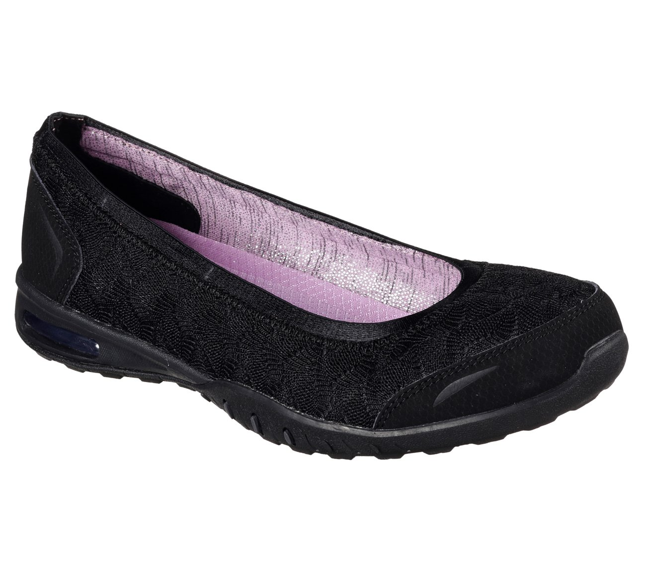 Skechers Relaxed Fit Easy Air Join Me Womens Ballet Flat Skimmers B01M0D7X0E 8 B(M) US|Black