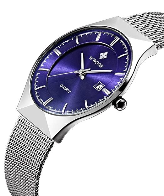 Blue Dial Watches for Men Military Analog Stainless Steel Quartz Watch with Calendar Silver Mesh Band
