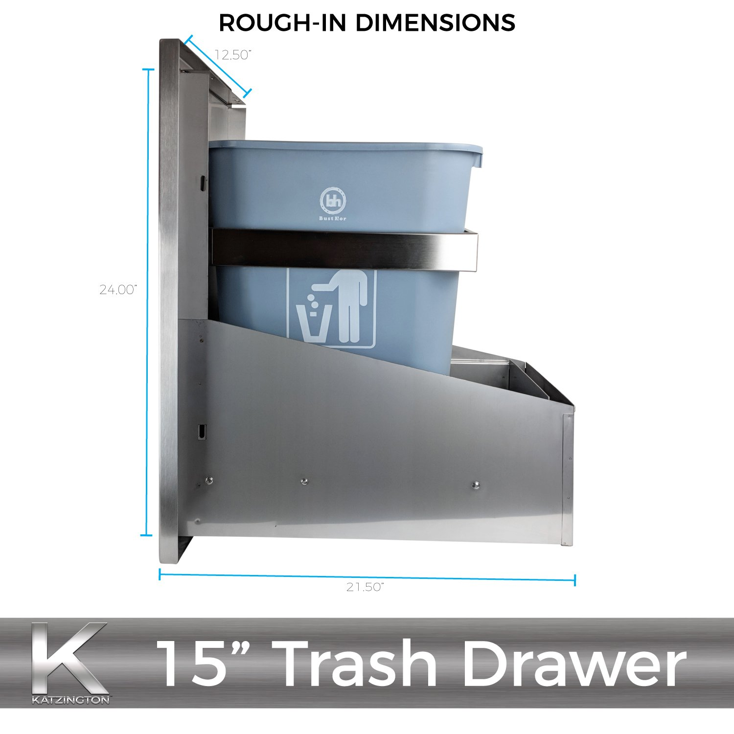 Katzington BBQ ISLAND TRASH DRAWER - Modern Style - 15'' Trash Drawer - 304 Grade Stainless Steel - Double Walled Construction - Barbecue Island/Outdoor Kitchen Access Door - Soft Close Drawer Glides by Katzington (Image #4)