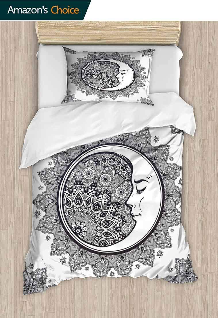 Zodiac Custom Made Duvet Cover and Pillowcase Set, Intricate Boho Form with Crescent Moon Foreground Alchemy Symbol, Duvet Cover with Pillowcases Child Bedding Sets 2 Piece, 79 W x 90 L Inches by carmaxshome