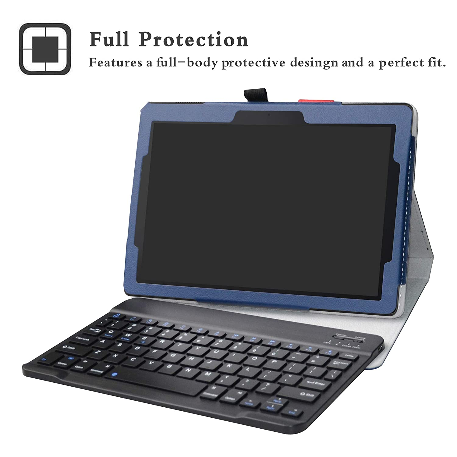 lowest price dfe68 7c8b0 Lenovo Tab E10 2018 Bluetooth Keyboard Case,LFDZ Slim Folio PU Leather  Stand Case Cover with Removable Magnetic Wireless Keyboard for 10.1