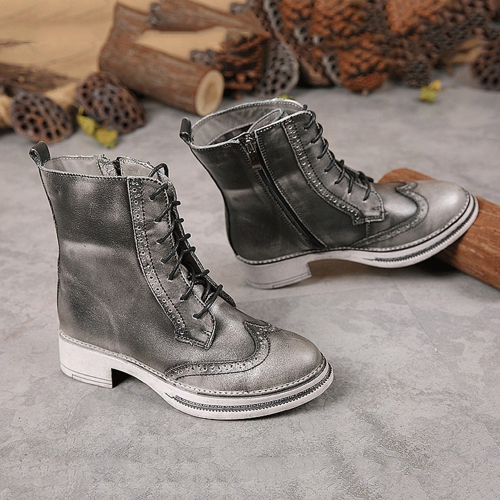 Women 's Martin boots autumn and winter retro genuine leather knights boots personality handmade shoes ( Color : Gray , Size : US:5UK:4EUR:35 ) by LI SHI XIANG SHOP (Image #5)