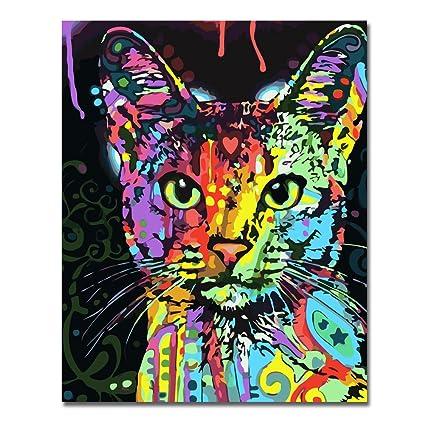 Sin marco, Pintura por números Bricolaje DIY Pintura al óleo vistoso gato Impresión de la