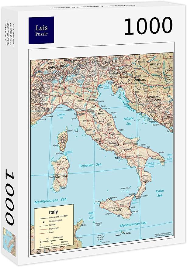 Lais Puzzle Mapa físico de Italia 1000 Piezas: Amazon.es: Juguetes y juegos