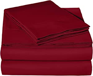 Ras Décor Linen Sheets for Motorhomes & Camper Beds, 4-Piece RV Sheet Set 100% Cotton (48x75) 3/4 Full Bunk, Burgundy Solid