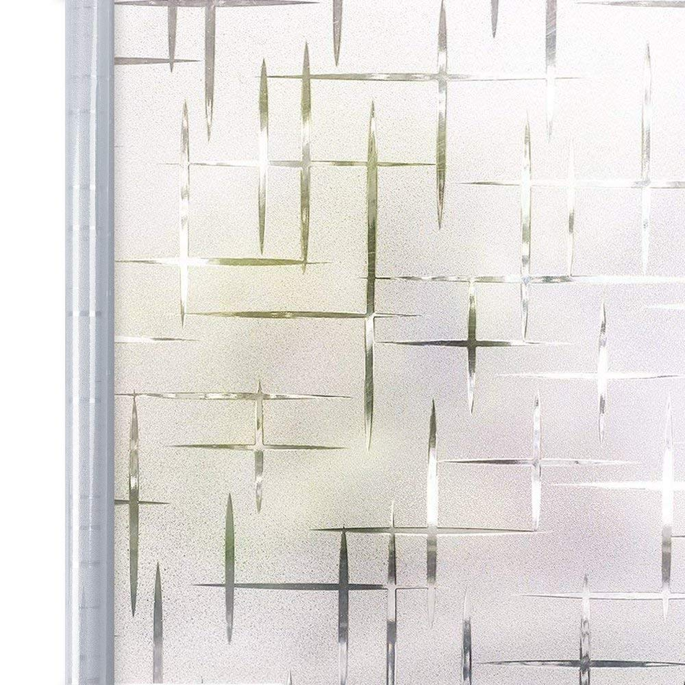 Privacy Window Film White Cross, Self Adhesive Frosted Window Film Removable Static Cling Decorative Glass Window Sticker No Glue UV Blocking Window Cling Blind for Office Kitchen 35.4x78.7inches by Homein