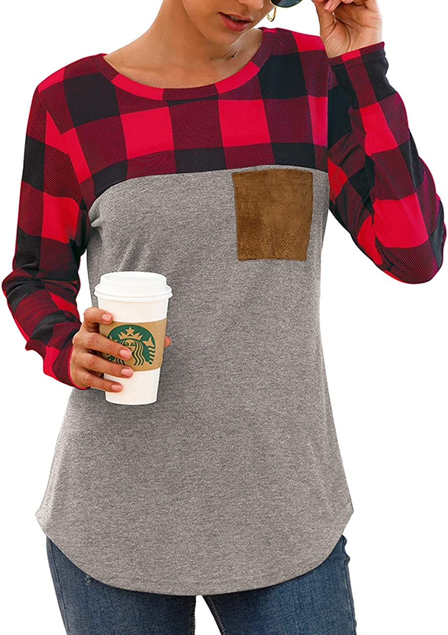 Womens Casual Long Sleeve Plaid Patchwork Tunic Top Loose Sweatshirt Tops Shirts with Suede Pocket