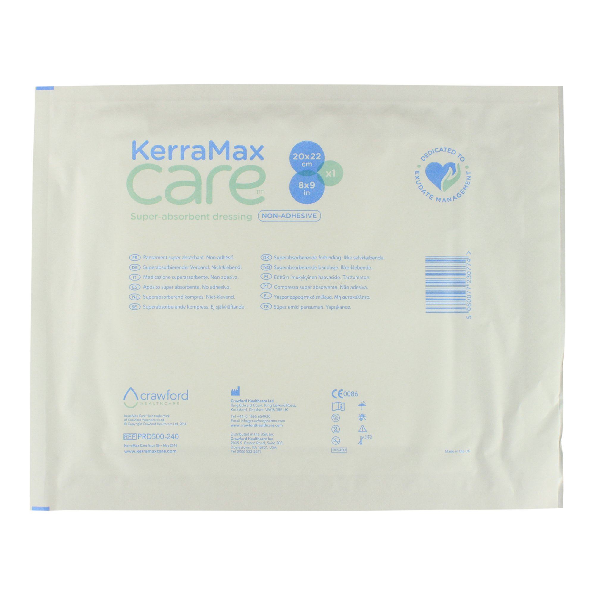 KerraMax Care 8''x9'' Super Absorbent Wound Dressing (PRD500-240) – Absorbs Exudate and Isolates it, Preventing Leaks or Drips for Improved Patient Comfort and Wound Care Treatment (1 Each)