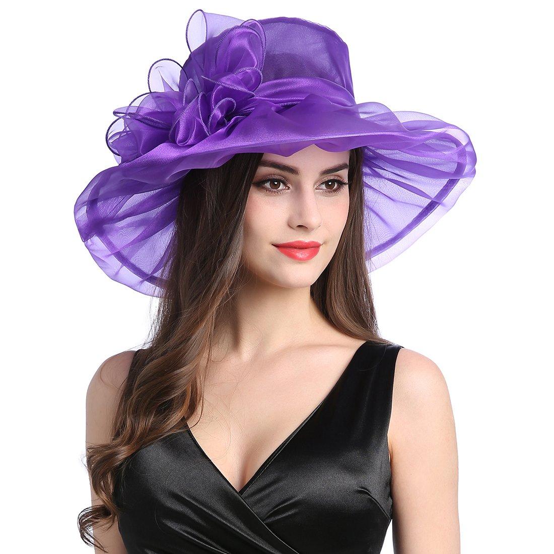 1ce68cd117129 MissCynthia Women s Organza Church Kentucky Derby Fascinator Tea Party Wedding  Hat larger image
