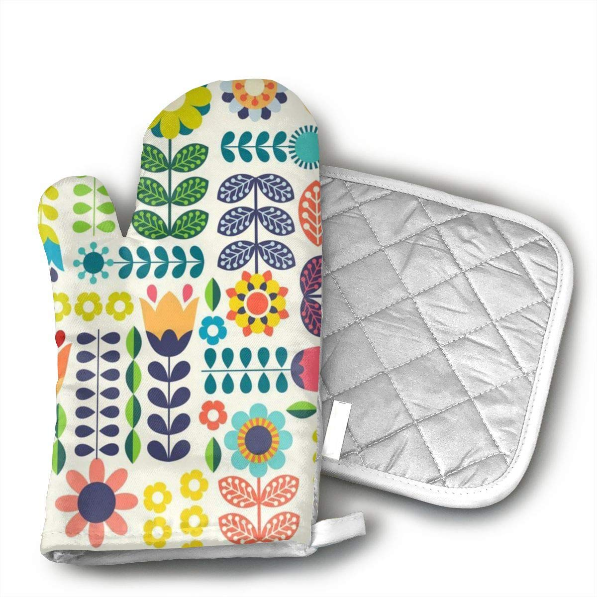 MEILVWEN Swedish Folk Art Colorway Oven Mitt and Pot Holder Set,Heat Resistant for Cooking and Baking Kitchen Gift