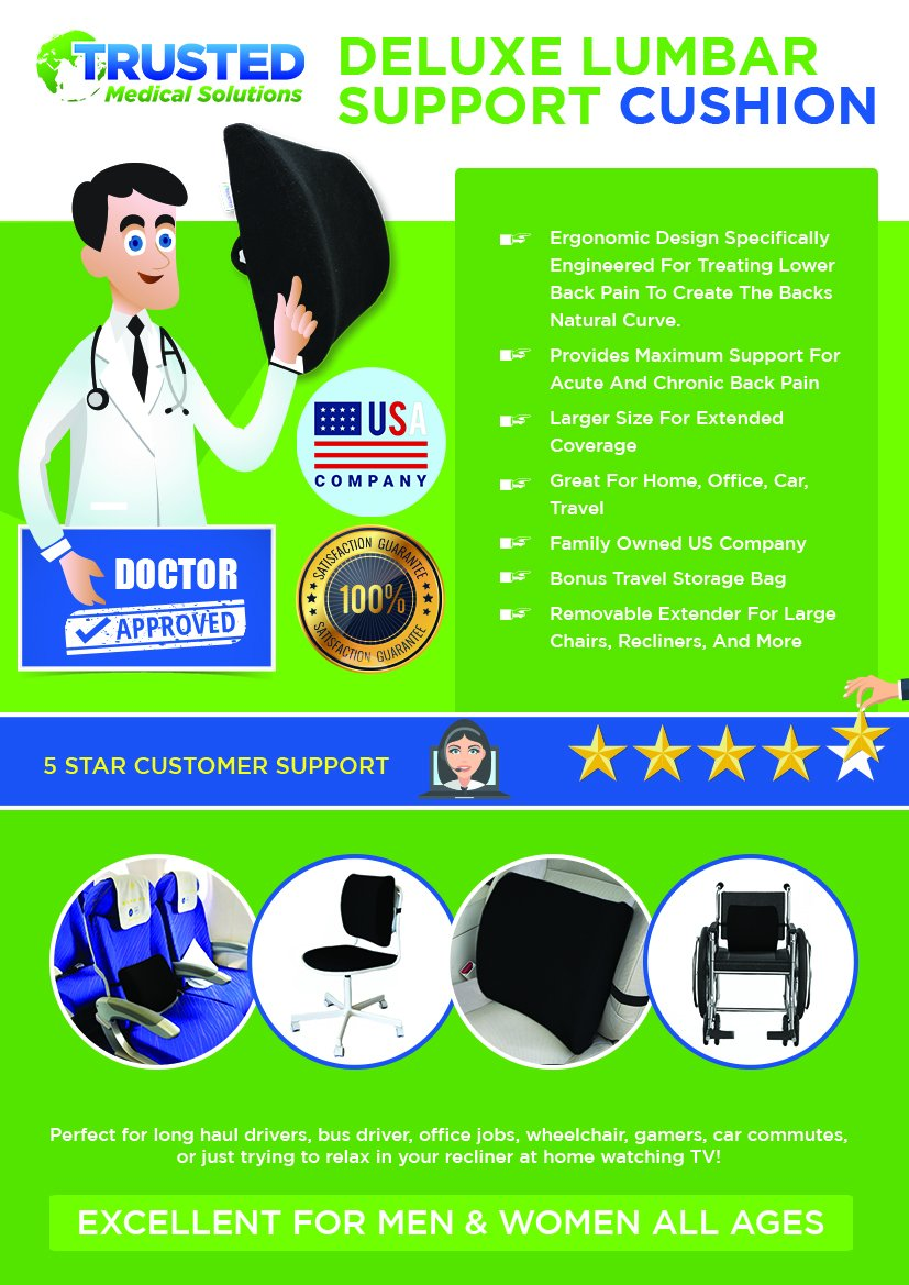 Trusted XL Back Lumbar Support Pillow - ★ Won't Flatten 100% Pure Memory Foam ★ - Posture Cushion Pain Relief for Office, Car, Home, Travel - Removable Attach Anywhere Extendable Straps (Black) by Trusted Medical Solutions (Image #7)