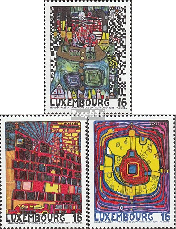 Luxembourg 1360-1362 Painting Complete.Issue. Stamps for Collectors 1995 Hundertwasser Culture