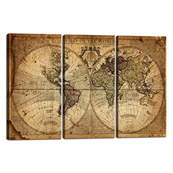 Wall Art Decor Canvas World Map 3 Pieces Framed Large Canvas Art Contemporary Painting Vintage Globe Map Newspaper Background Artwork Pictures For