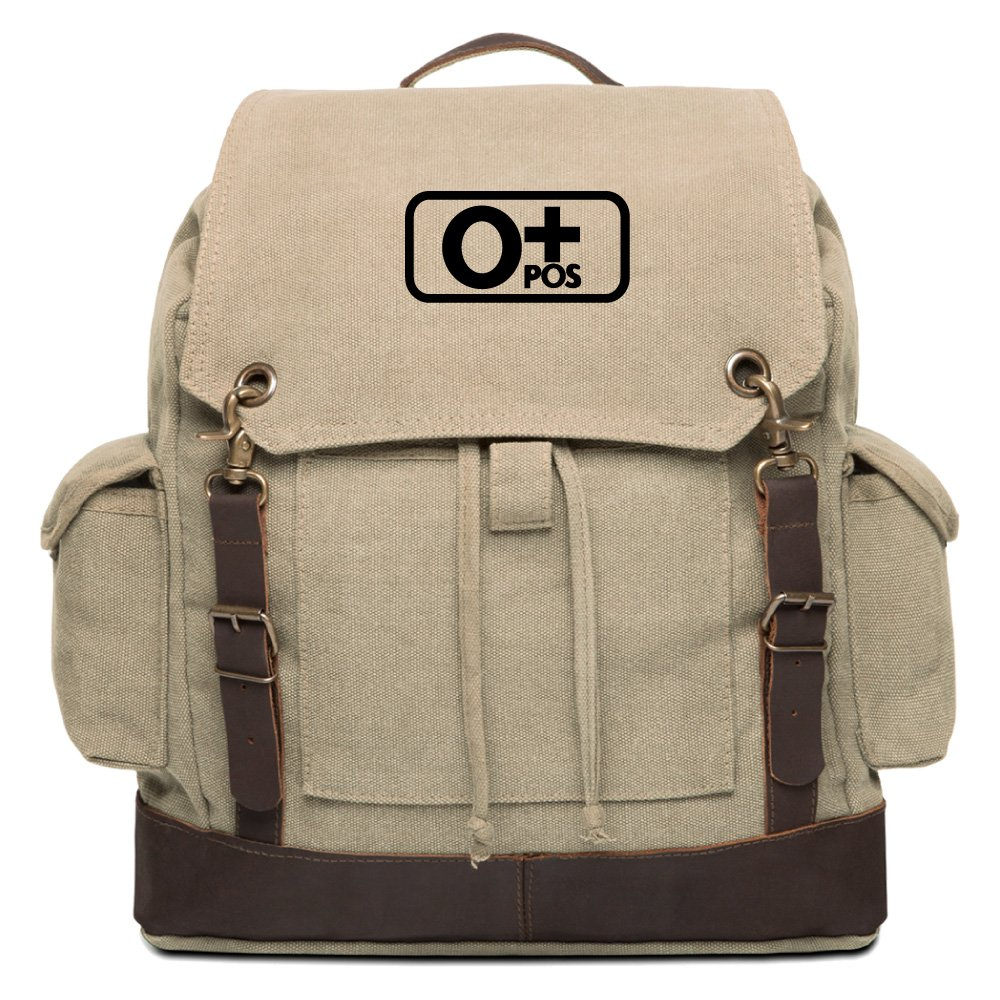 Blood Type O Pos Vintage Rucksack Backpack With Leather Straps Black /& White