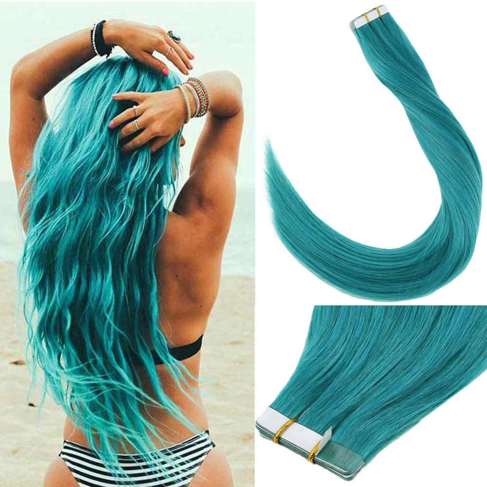 [Hot]LaaVoo 18inch Cool Color #Teal Invisible Double Side Tape in Human Hair Salon Quality 10pcs 25g Secret Glue on Hair Can be Colored by LaaVoo