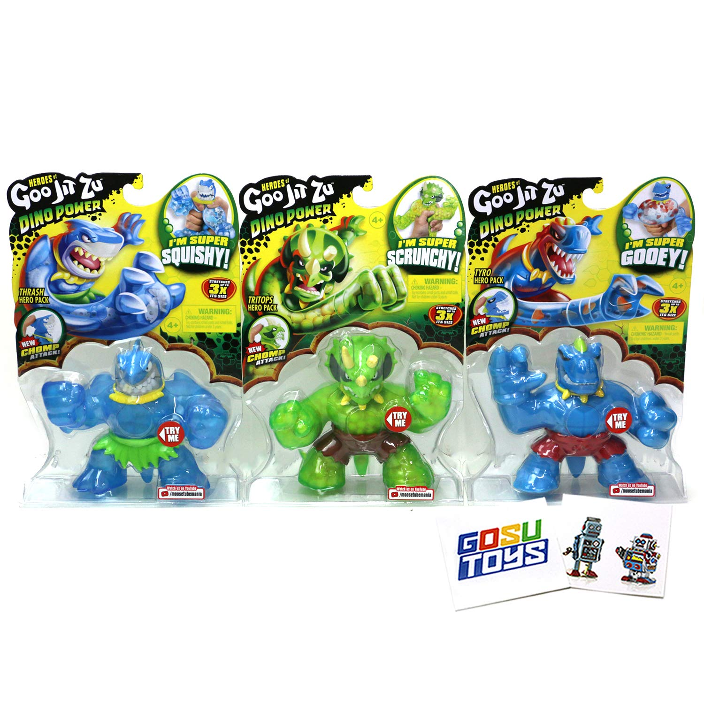Heroes of Goo JIT Zu Series 3 (3 Pack) Tritops, Thrash, Tyro with 2 GosuToys Stickers New Dino Power Chomp Action