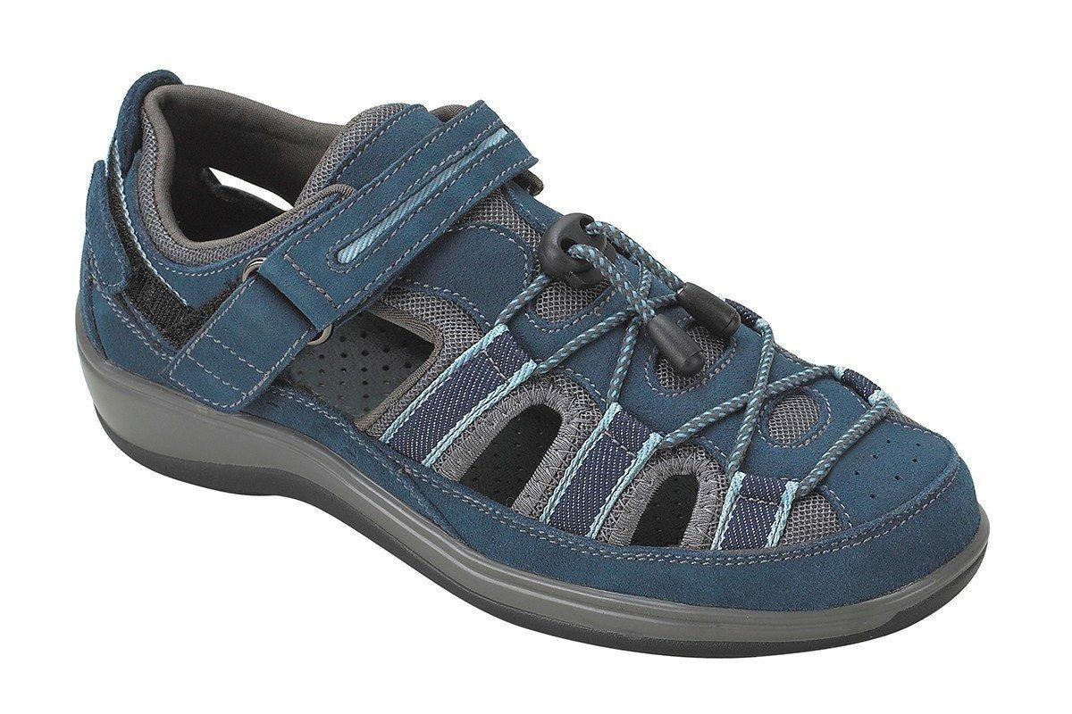 Orthofeet Naples Comfort Orthopedic Diabetic Plantar Fasciitis Womens Sandal Fisherman Blue Leather 7 XW US