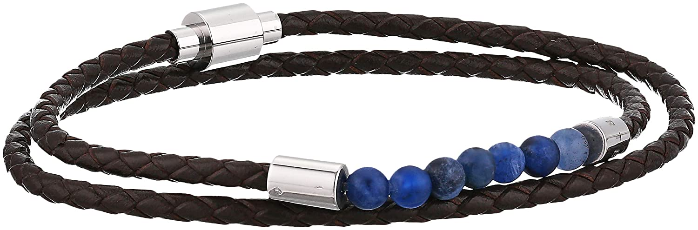 Ted Baker Men's Lizaa Bead and Leather Bracelet, Black O/S DC8M-GG23-LIZAA