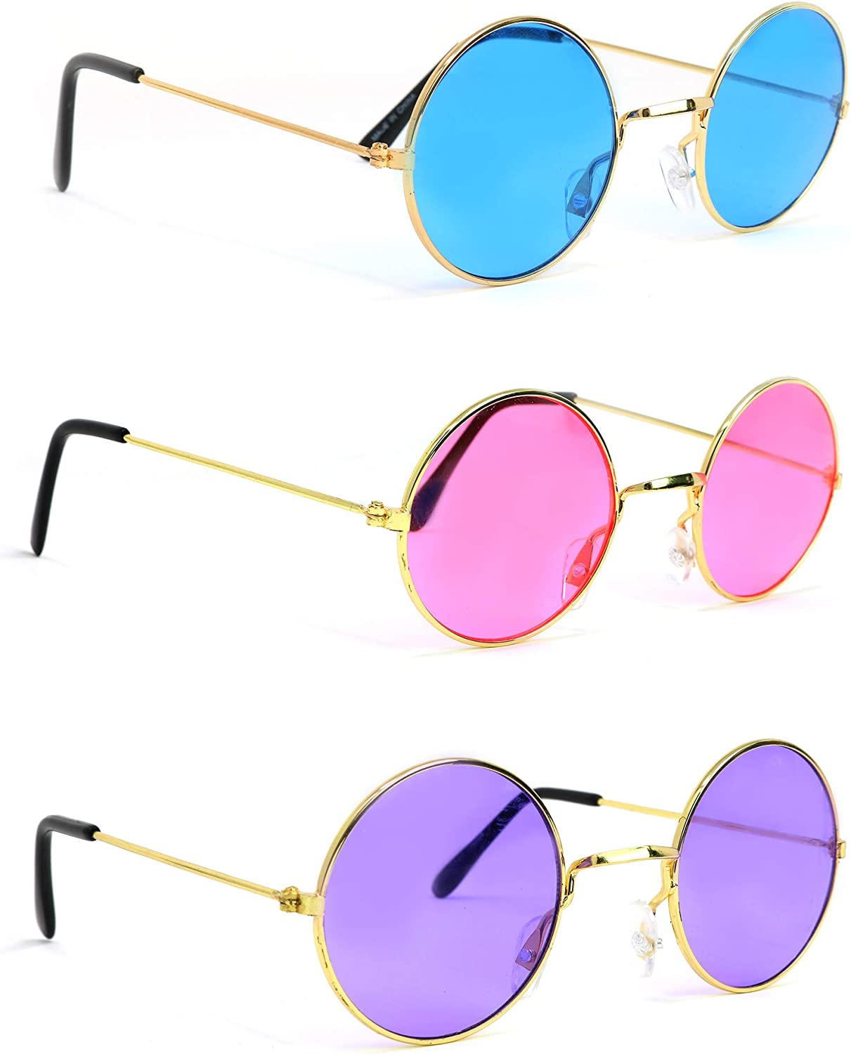 Amazon Com Skeleteen Tinted Round Hippie Glasses Pink Purple And Blue 60 S Style Hipster Circle Sunglasses 3 Pairs Toys Games