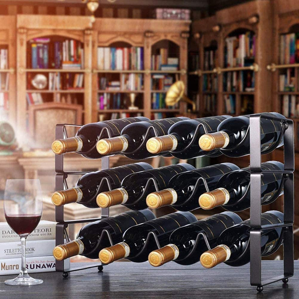 1 Pack, White YunNasi Tabletop Stackable Wine Rack Free Standing Wine Bottle Storage Holder Home Decorations for Cabinet Cupboard Countertop No Assembly Required