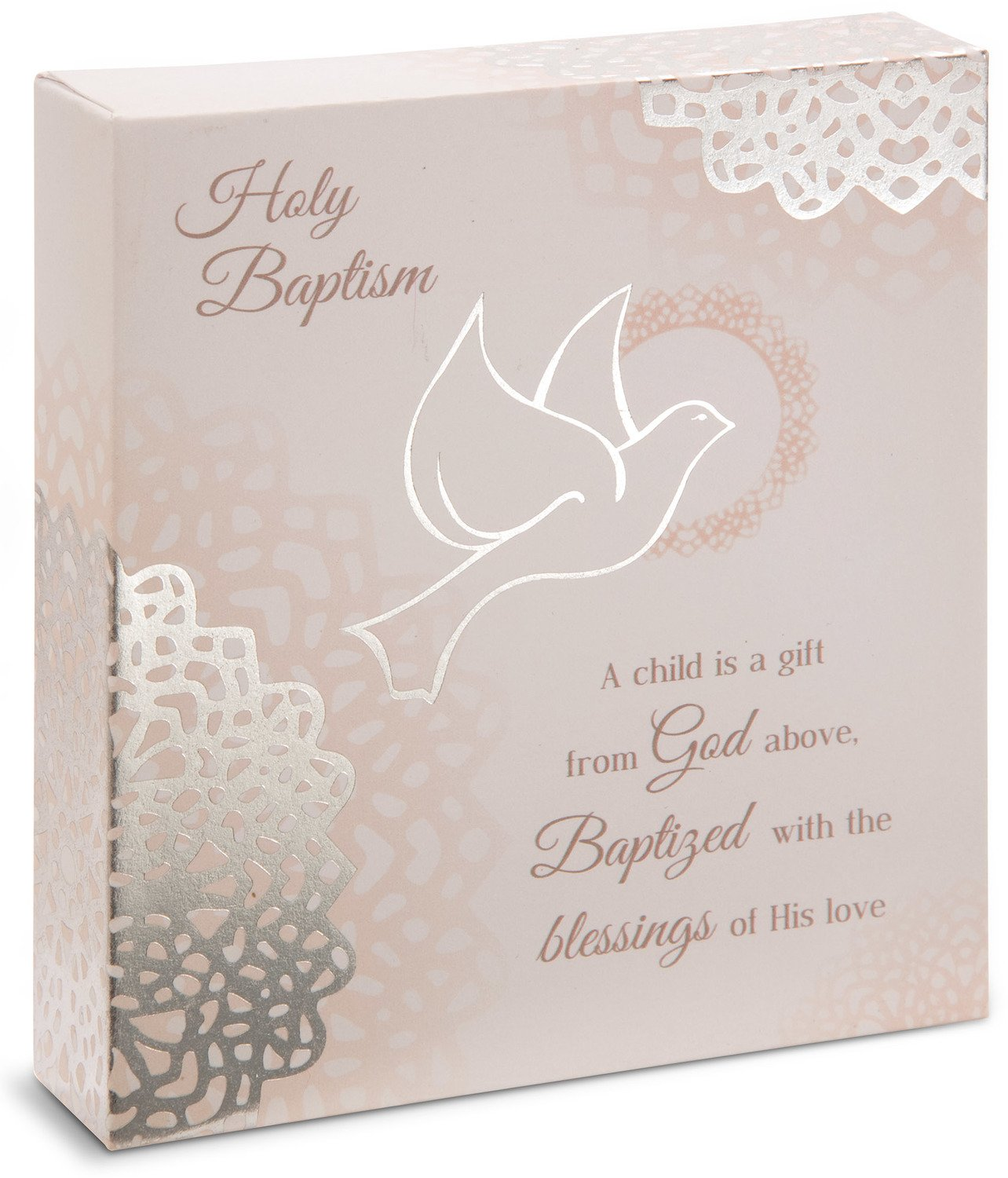 Pavilion Gift Company Light Your Way Every Day Personalizable Catholic Dove Baptism Plaque, 4'' x 4.5''