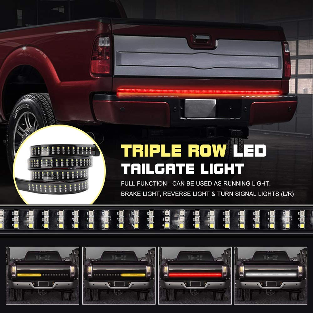 NOVSIGHT 60 Car LED Tailgate Light Bar Strobe Strip Triple Row Flashing Brake Amber Red White Turn Signal Reverse Brake Running Tail Light No Drill Install for Pickup SUV RV VAN GMC