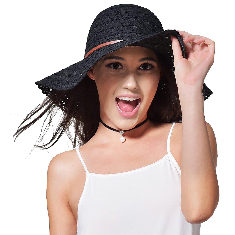 Magic Zone Femme Capeline Pliable Chapeau de Paille UPF Chapeau de Plage d/ét/é Anti UV Chapeau De Soleil Coton Large Bord Visi/ère Chapeau de Paille Packable pour Voyage