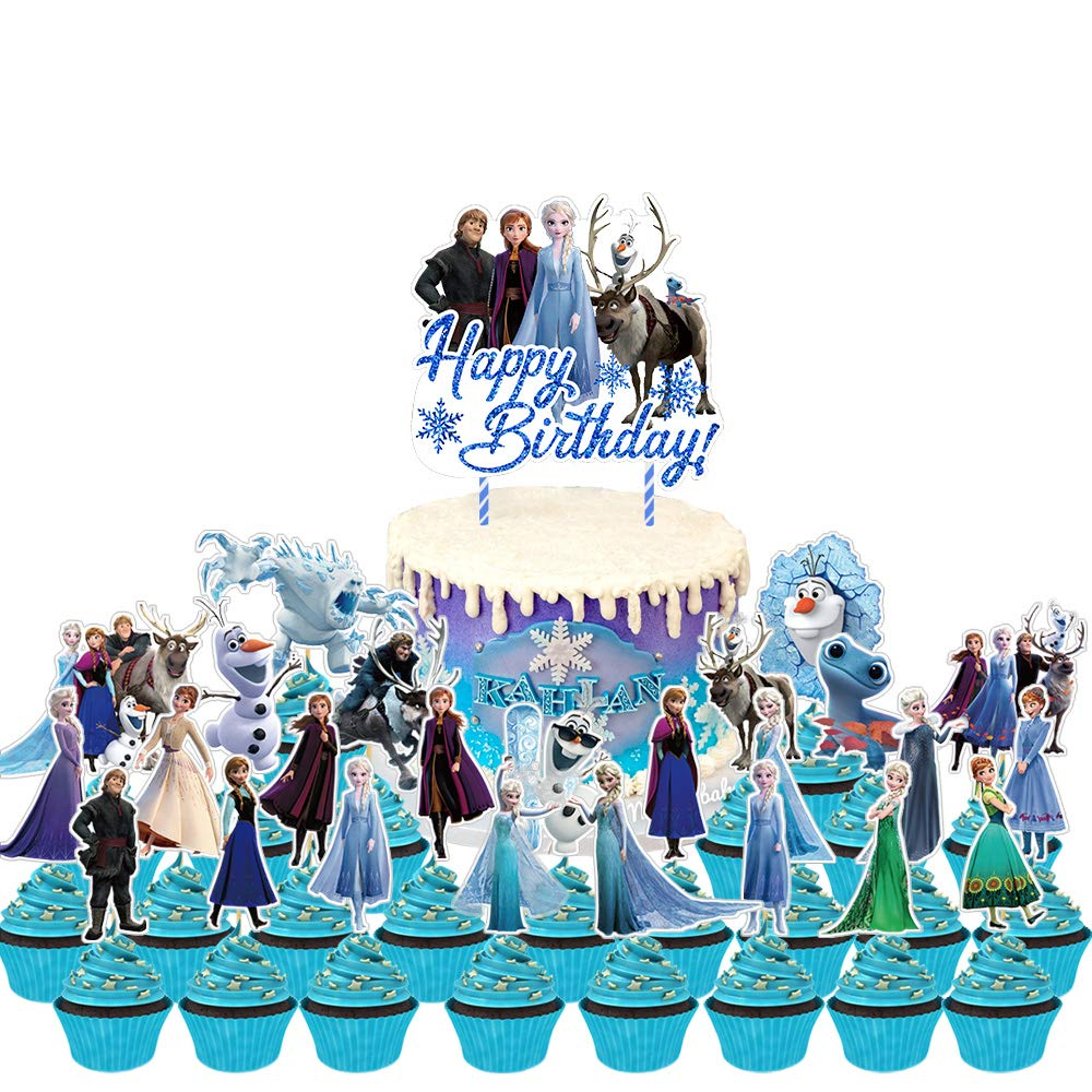Boliverty 47 Pcs Frozen Party Supplies Decorations with Frozen Cake Topper Cupcake Toppers,Happy Birthday Frozen Banner,Balloons for Frozen Birthday Party Supplies