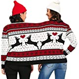 Two Person Ugly Christmas Sweater - Xmas Couples Pullover Novelty Knit Patterns Reindeer Blouse Top Shirt
