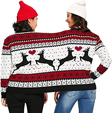 Peace Sign Festive Blocks Ugly Christmas Sweater Red Adult Crew Neck Sweatshirt