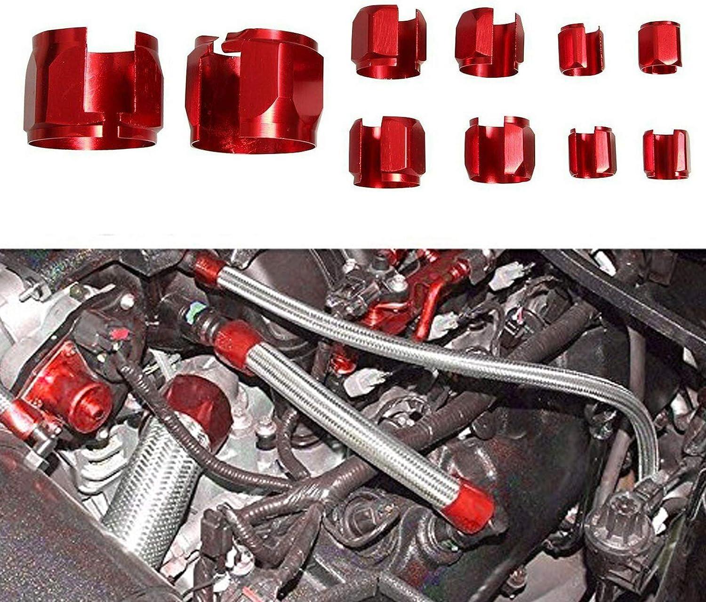 High Performance Flex Stainless Steel Braided Hose Sleeve Sleeving Kit 350 F Red