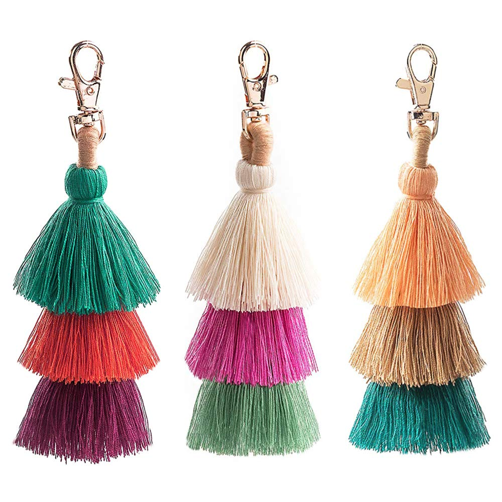 Colorful Boho Pom Pom Tassel Bag Charm Key Chain (3 pcs(02)) by I-BOSOM