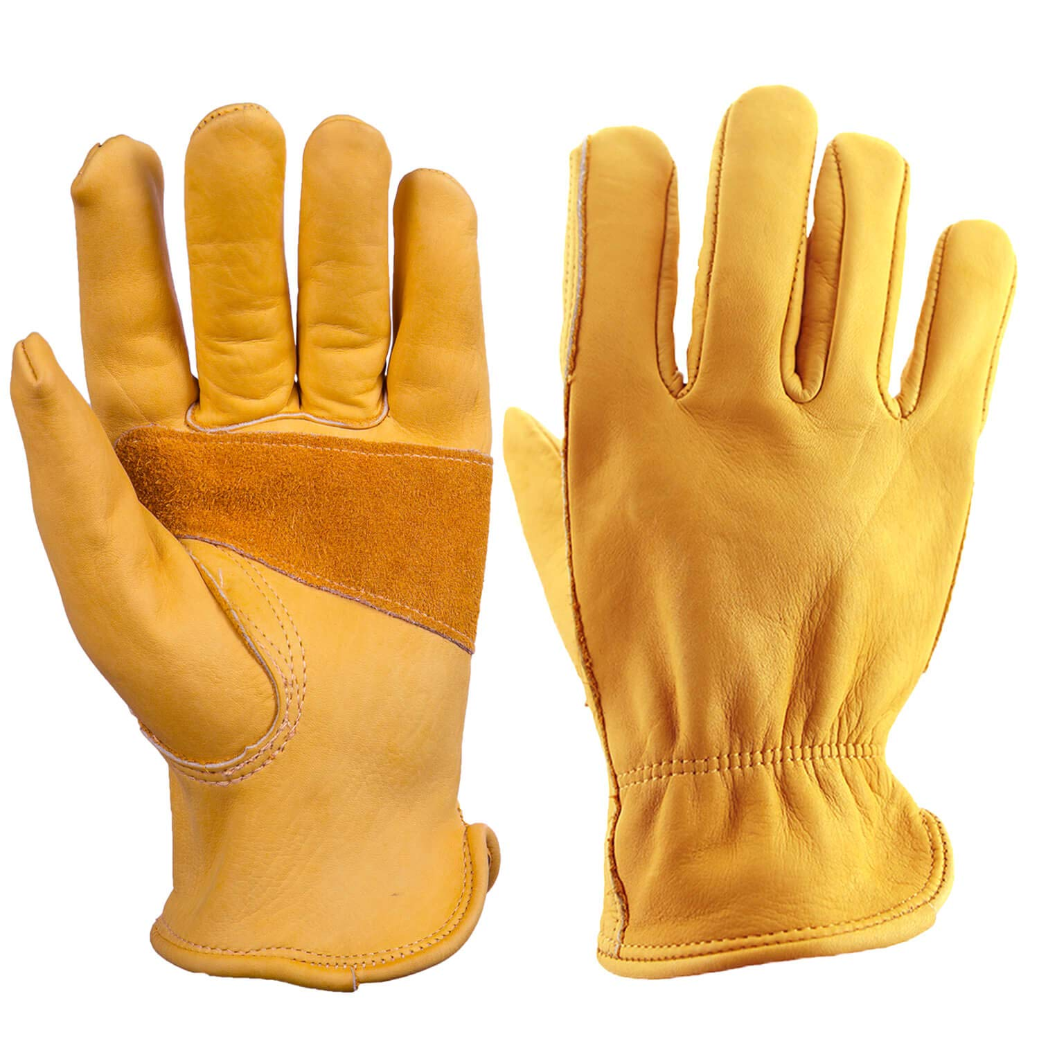 OZERO 3 Pair Flex Grip Leather Working Gloves Stretchable Tough Cowhide Work Glove (Gold, Large)